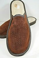 MENS DARK BROWN NATURAL LEATHER SUEDE  SLIPPERS MULES SLIP ON SIZE 8 -13 EUROPE