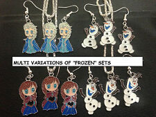 "MULTI VARIATIONS DISNEY ""FROZEN"" NECKLACE AND EARRINGS SETS HANDMADE AUS 3W"