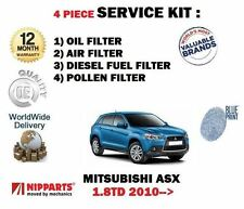 FOR MITSUBISHI ASX 1.8 TD 4N13 2010-> OIL AIR FUEL POLLEN 4 FILTER SERVICE KIT