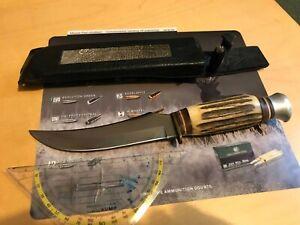 Jagd Messer, hochwertiges Messer aus Altbestand, Hirschhorn