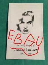Memorial Celebration Funeral Program Jeanne Carmen 2007 Queen Of The B Movies