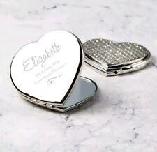 Personalisierte Silber Strass Herz Kompakt Spiegel Valentinstag Geburtstag Geschenk