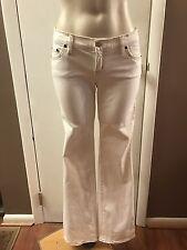 Bebe ~ Sexy Ivory Cream White Jeans Pants w/ Tan Stitching ~ Size 25