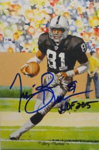 Tim Brown Signed Oakland Raiders Goal Line Art Card W/ HOF- JSA W Auth *center
