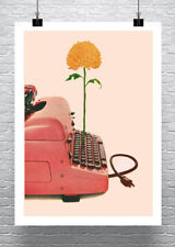 Mid Century Pink Typewriter With Flower Cotton Canvas Giclee Print 17x23 in.