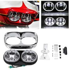 Dual LED Headlight Projector Daymaker Lamp For Harley Davidson Road Glide 04-13