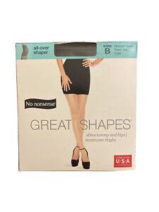 No Nonsense Great Shapes Pantyhose Size B Midnight Black Sheer Toe CB9 New