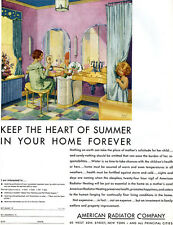 Robert Lawson American Radiator Heating MOTHER DAUGHTER IN BATHROOM Art Deco Ad