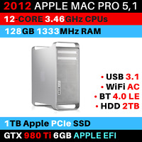 2012 Mac Pro 12-Core 3.46GHz 128GB RAM 1TB PCIe SSD GTX 980Ti WiFi AC USB 3.1