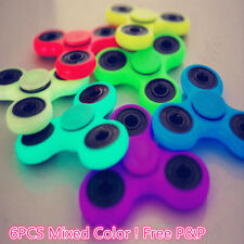 6 x Glow In The Dark Fidget Finger Hand Spinner Focus Ultimate Spin Steel Toys