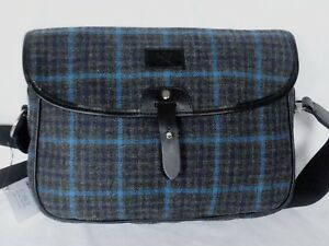 New With Tags Hackett London Blue / Grey Tweed Wool Body Messenger Bag RRP £460
