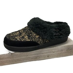 Clarks JMH2032T Slippers Black Faux Fur Slip On In Out Door Shoe Size 6
