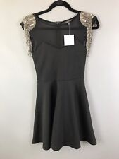 BNWT Topshop Size 6 Black Gold Beaded Mesh Top Gatsby Party Skater Style