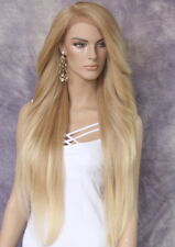 Extra Long Lace Front Wig Full Blonde mix Heat OK Feathered Side WBPC 27/613