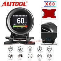AUTOOL X60 Car OBD2 Digital HUD Speed Pressure Oil Water Temp Alarm Gauge Meter