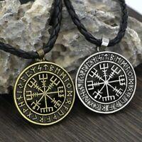 Edelstahl Anhänger mit Vegvisir Symbol Runen Wikinger Kelten Amulett Schmuck