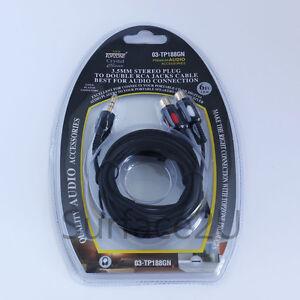 3.5mm Stereo Plug to 2 RCA Female Gold Audio Cable 4 MP3 iPhone iPad iPod Black