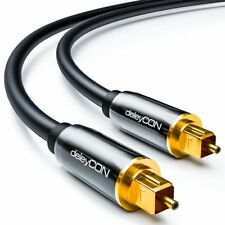 Toslink HQ deleyCON 1m - Optisches Audiokabel mit Metallstecker 5mm - Schwarz