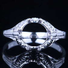 Solid 10K White Gold Semi Mount Antique Filigree Engagement Wedding Fine Ring