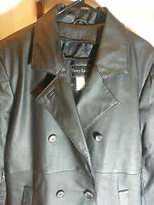 Full Length Leather Trench Coat Overcoat Black Terry Lewis Size M