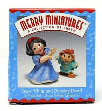 Rare 1997 New Snow White & Dancing Dwarf Merry Miniatures 2 Piece Ornament Set