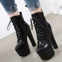 Punk Women High Heel Lace up Side zip Platform Ankle Boots Round toe Biker Shoes