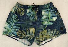 Topman Swim Trunk Mens Jungle Leaf Swim Trunks Green White Yellow Size Large
