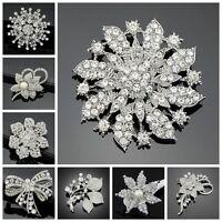 1 Big Vintage Silver Rhinestone Crystal Flower Brooch Pin DIY Wedding Bouquet