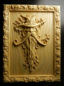 Wood carved picture wall decoration plaque. Spirit of the woods. Perfect gift