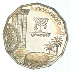 SILVER Roughly Size of Nickel 1987 Israel 1/2 New Sheqel World Silver Coin *098