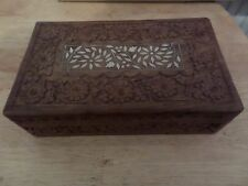 FLORAL DECORATED WOODEN BOX - WITH INLAID TOP - 25cm x 15cm x 7cm -