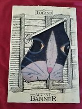 Vintage Toland Accent Banner Flag Tuxedo Cat Nib 34 in x 23 in