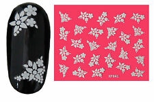 White Flowers (41) 3D Nail Art Stickers Water Transfers Decals Buy 2 Get 1 Free