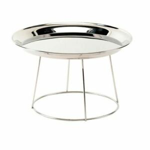 PARTY BUFFET SERVING ROUND TRAY STAND STAINLESS STEEL CAKE DISPLAY
