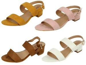Ladies Spot On Strappy Low Block Heel Sandals : F12014