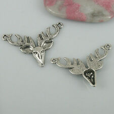 12pcs Tibetan Silver color deer head design charms EF0501