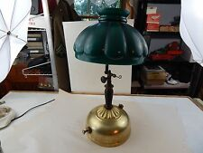 COLEMAN Instant-Lite 1947 GAS TABLE LAMP w/rare orig GREEN GLASS SHADE Lantern