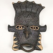 Pottery Tribal Mask Dark Grey with Gold Accents Mexican Aztec Style Wall Decor