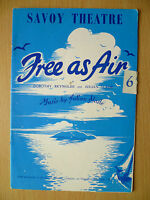1957 Savoy Theatre Programme: FREE AS AIR by Denis Carey