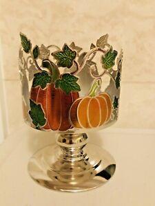 Bath & Body Works Candle Holder Orange Pumpkin Vines Pedestal 3 Wick Large NEW