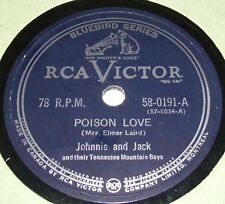 RCA Victor 58-0191 Johnnie And Jack Poison Love / I Can't Tell My Heart That 78