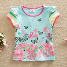 Toddlers girls animal zebra butterflies flowers 100% cotton t-shirt (18M-6Y)