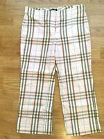 Burberry London Women's Capri Pants Cropped Size 2 Plaid Cotton Blend Light Pink