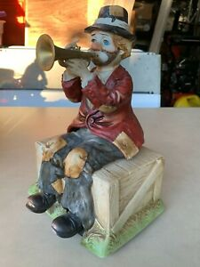 Waco Melody in Motion Willie The Hobo Clown Music Box Trumpet Playing Figure