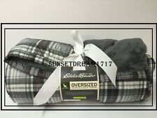 "Eddie Bauer Oversized Fleece Down Throw 650 Fill Throw 72""L x 50""W - CINDER"