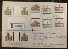 1984 Rathdrum Ireland Registered Express Cover To West Germany High Value Stamps