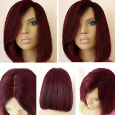 Women's Short Straight Bob Synthetic Wig with Side Part Colormix Dark Root Wigs