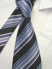 RAEL BROOK BLACK PURPLE LILAC STRIPED 3.75 INCH POLYESTER MANS NECK TIE