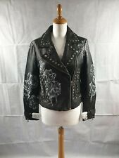 Topshop Women Black Leather 'Nice Try' Print Studded Biker Jacket UK Size 12 NWT
