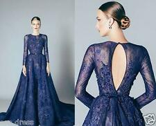 Navy Blue Lace Formal Applique Beads Long Sleeves  Evening Dresses Prom Gowns